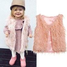 Новинка года, топ с искусственным мехом для маленьких девочек, жилет розовое теплое модное зимнее пальто, верхняя одежда, куртка, жилет, одежда 1-6Y