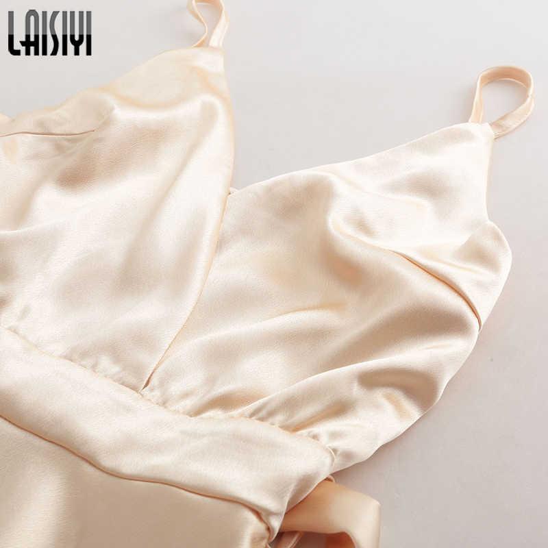 LAISIYI moda volante Mono corto elegante sin mangas cuello en V bohemio verano Sexy Playsuit mujer monos Boho oro ASJU20263