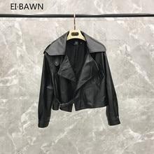 2019 Autumn  Short Loose Sheepskin Jacket Korean Casual Raglan Sleeve real leather jacket  genuine leather jacket women