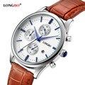 2016 vendedor quente moda marca longbo relógios de quartzo de couro de luxo reloj masculino esportes dos homens relógios de pulso data do calendário 80061