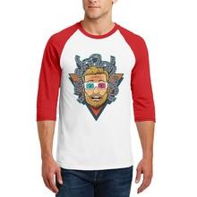 Men O-Neck Fashion Cotton T-Shirts Male Casual 3/4 Sleeve T Shirts Raglan Portrait Printing New Comfortable Tops Tees