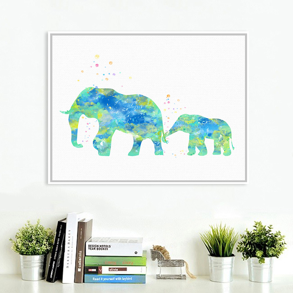aliexpress com buy original watercolor elephant family poster