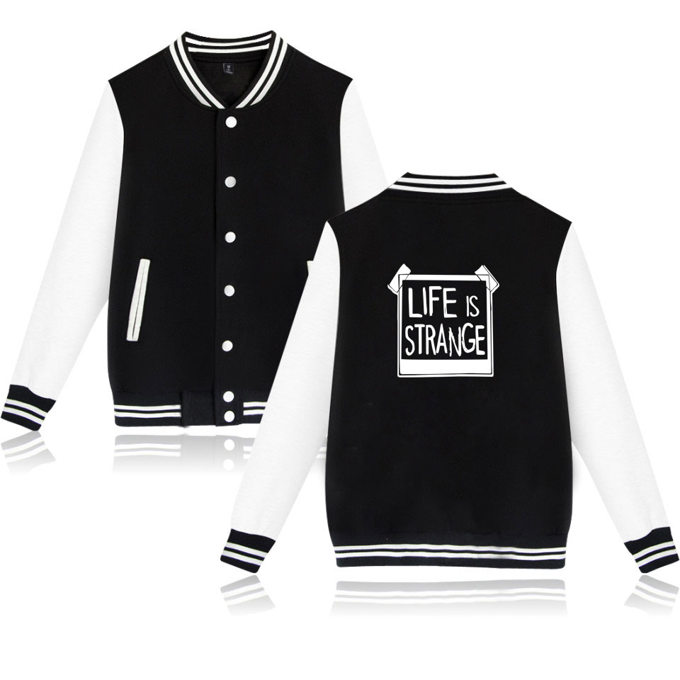 Life Is Strang2018 New Mens Baseball Jacket Jacket Black Hot Hoodie High Quality Loafers 4XL Life Is Strang