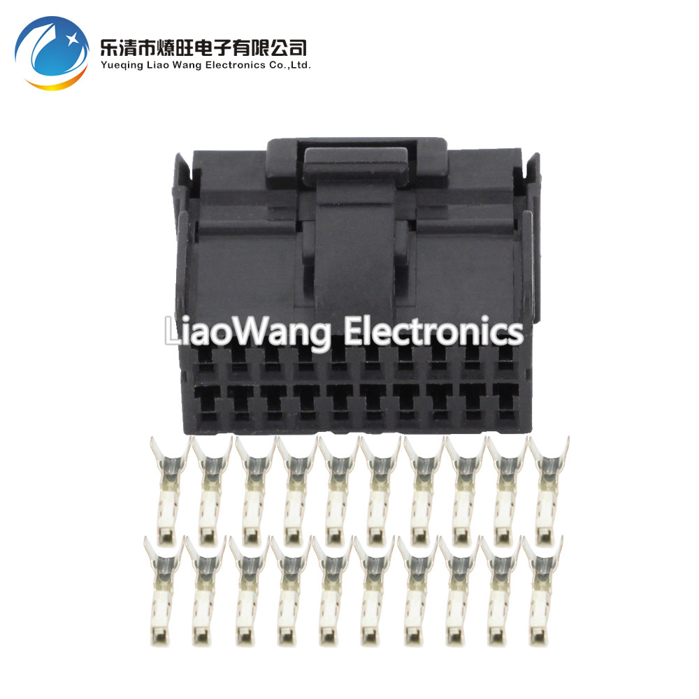 5 Sets 20 Pin clamp black female car connector with terminal DJ7201 1 2 21 20P car connector in Connectors from Lights Lighting