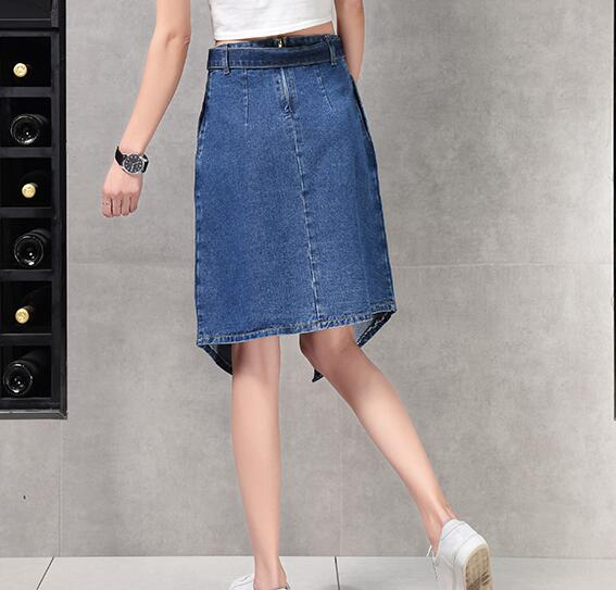 Primavera Yss0805 longitud Mujeres De Denim Mujer Verano La Moda Casual Algodón Azul Nueva Otoño Asimétrico Faldas Arco Rodilla Mezcla xZqBU8wXg