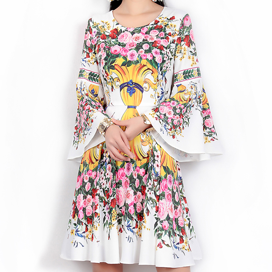T shirt printing at white rose - Luxury Women Dresses European Noble Rose Print Fashion Long Flare Sleeve Spring Summer 2017 White