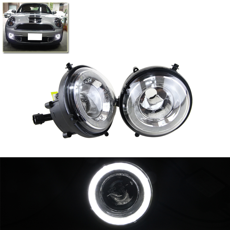 Exact Fit For Mini Cooper Halo Led Daytime Running Lights DRL Driving Fog Lamps Assembly Kit Car Styling Auto Car LED Daylights direct fit for nissan 350z pre lci led daytime running lights 7 led xenon white drl driving fog lamps daylights car styling