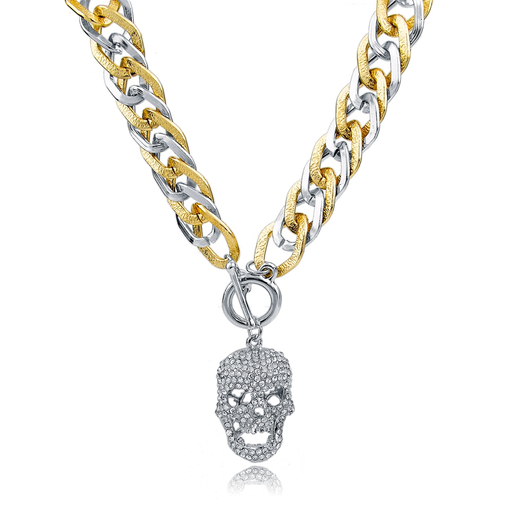 ec092e46b9 2016 Vintage Long Gold Chains Skull Pendant Crystal Necklace Designs  Statement Necklaces For Women Fashion Jewlery SNE150784