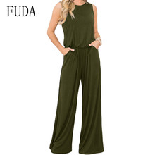 FUDA Sleeveless O Neck Casual Pockets Rompers Women Jumpsuit Wide Leg Playsuits Fashion Trend Loose Trousers Summer Streetwear