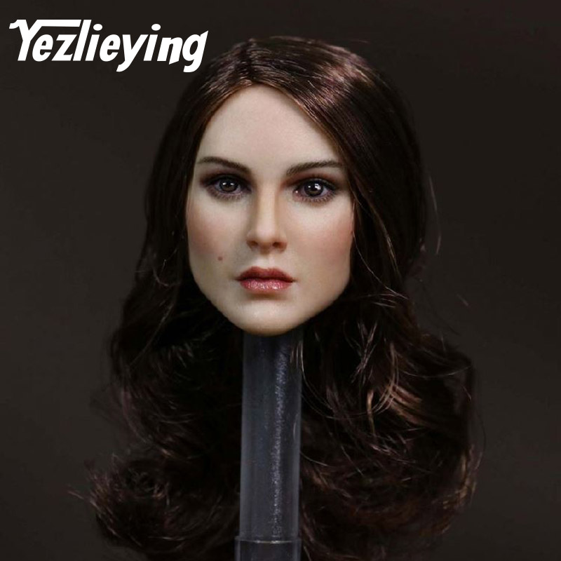 KT008 exquisite women's 1/6 ratio long hair girl head shape female head carving model 12 female Phicen action figure body doll 1 6 figure doll head shape for 12 action figure doll accessories batman joker red hair head carved not include body clothes