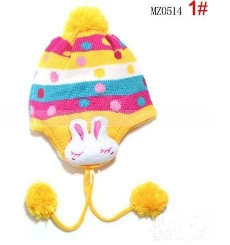 1 шт., 2013New дети точка заячьи ушки защиты вязаная шапка, Зимняя мода теплую шапку, Шапки многоцветный - Цвет: Цвет: желтый