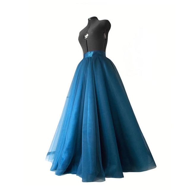 9a1280f65c Teal Blue Tulle Skirt Long Layered Skirt Satin Waist Ball Gown Separate  Prom Party Gown Wedding Skirt Bridal Tutu Saia Flowing