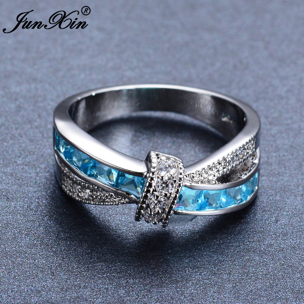 wedding blue fashion gifts rings gold black white women filled cross product vintage jewelry stone and light junxin birthday ring for