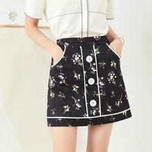 2b672871dd FANSILANEN nueva llegada de moda de verano primavera de las mujeres de  estilo chino imprimir faldas falda Falda Midi bordado Z82.