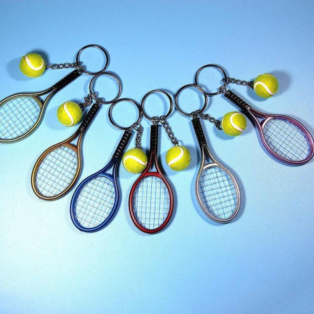 Mini Metal Tennis Racket Handmade Souvenir Cute Tenis Racquet Ball Key-chain Key Sports Chain Car Bike Keyring Novelty Gift  hot