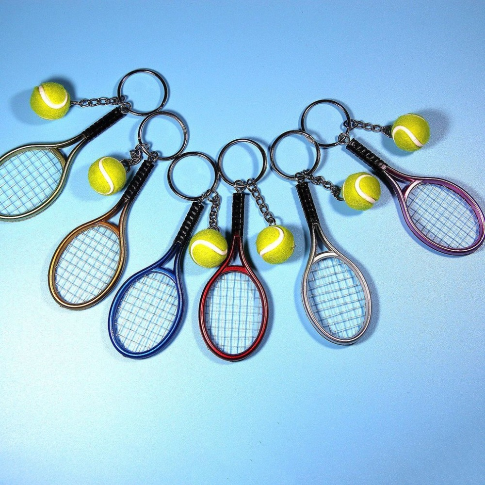 Mini Metal Tennis Racket Handmade Souvenir Cute Tenis Racquet Ball Key-chain Key Sports Chain Car Bike Keyring Novelty Gift  Hot
