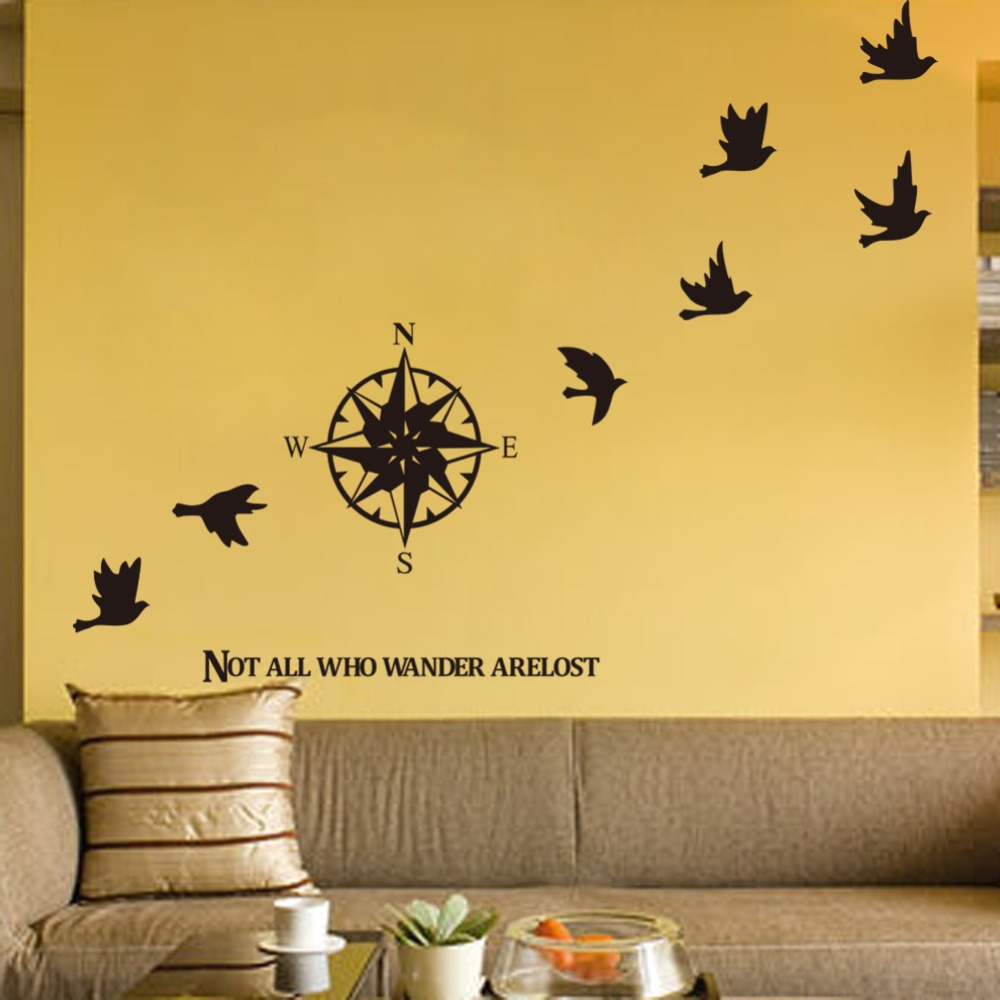 Compass Birds Wall Decor Living Room Wall Stickers Removable Home ...