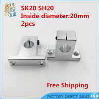 SK20 2 pcs/lot SK20 SH20A 20mm linear shaft support 20mm Linear Rail Shaft Support XYZ Table CNC parts