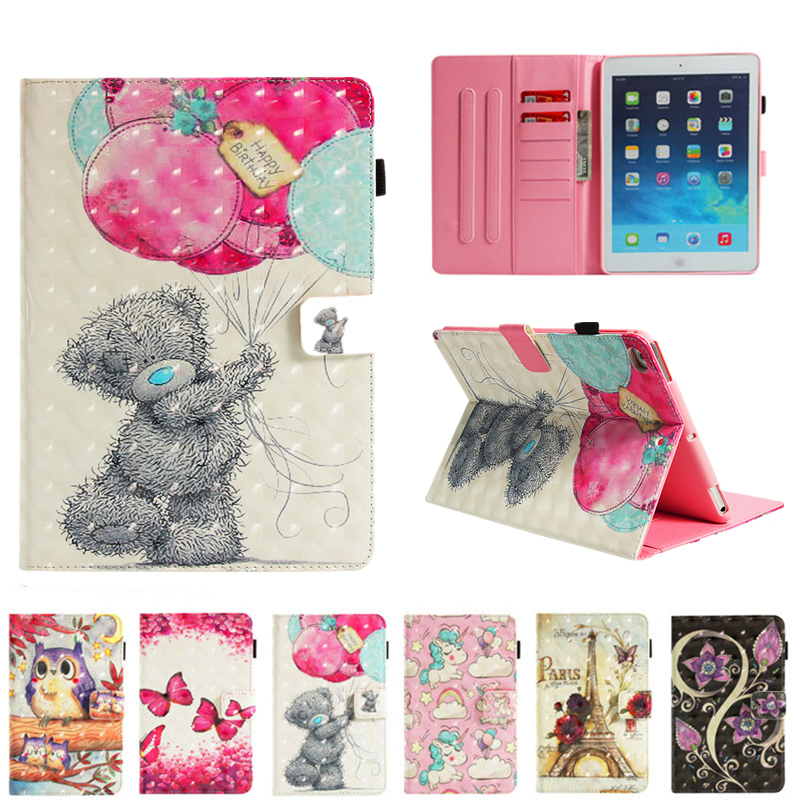 PU Leather Skin for iPad 6th Generation A1954 cases Cartoon Smart cover for ipad Air 1 2/iPad 9.7 2017 2018+Card Slots Pocket