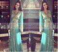 2017 Dubai Abaya Hunter Vestido de Noche Verde de Manga Larga V cuello de Encaje de Oro Apliques Con Cuentas Árabe Kaftan Vestidos de Baile Formales largo