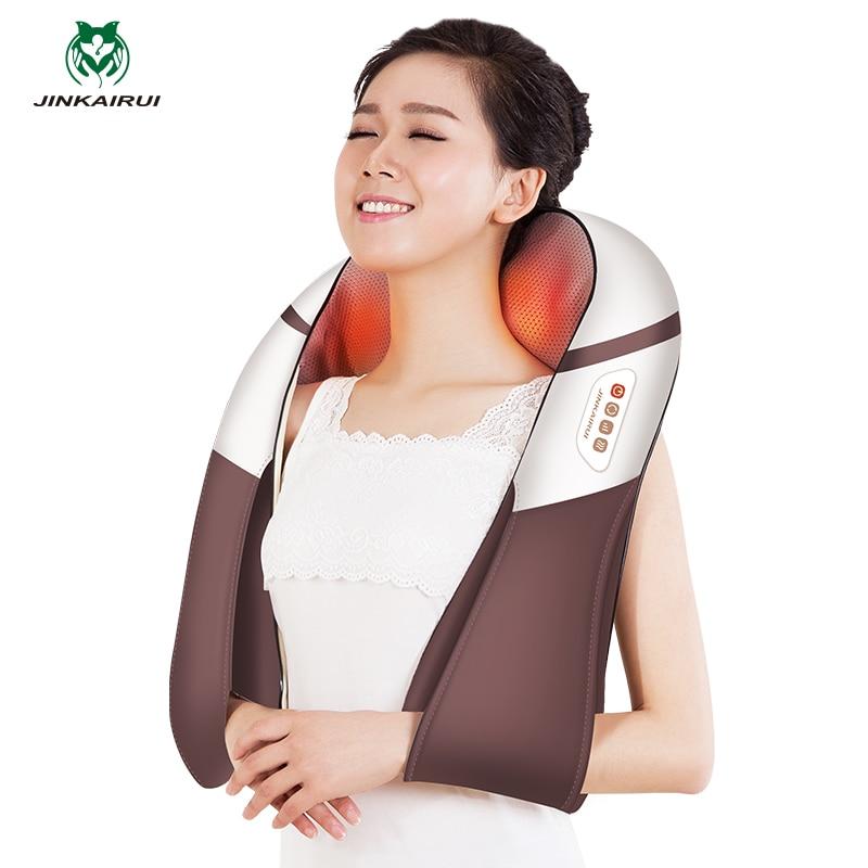 JinKaiRui U Shape Electrical Shiatsu Back Neck Shoulder Massage Body Infrared 4D Kneading Beating Tapping Knock Massager Massaj 4d massager