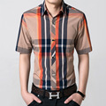 Summer Cool Mens Short Sleeve Dress Shirts Men Slim Fit Casual Shirt Brand Design Striped Shirt