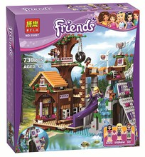 BELA 10497 739Pcs Friends Adventure Camp Tree House tire swing Model Building Minifigures Blocks Girl Toys With Legoe 41122