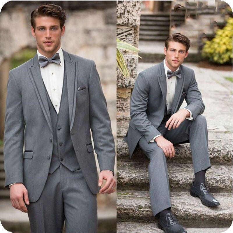 Italian Grey Mens Suits High Quality Slim Fit Groom Tuxedos Groomsmen Wedding Party Best Man 2Pieces Jacket Pants Ternos