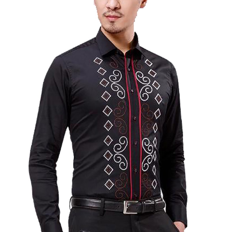 fashion male 100% pure cotton long-sleeve slim shirt trend national embroidery flower we ...
