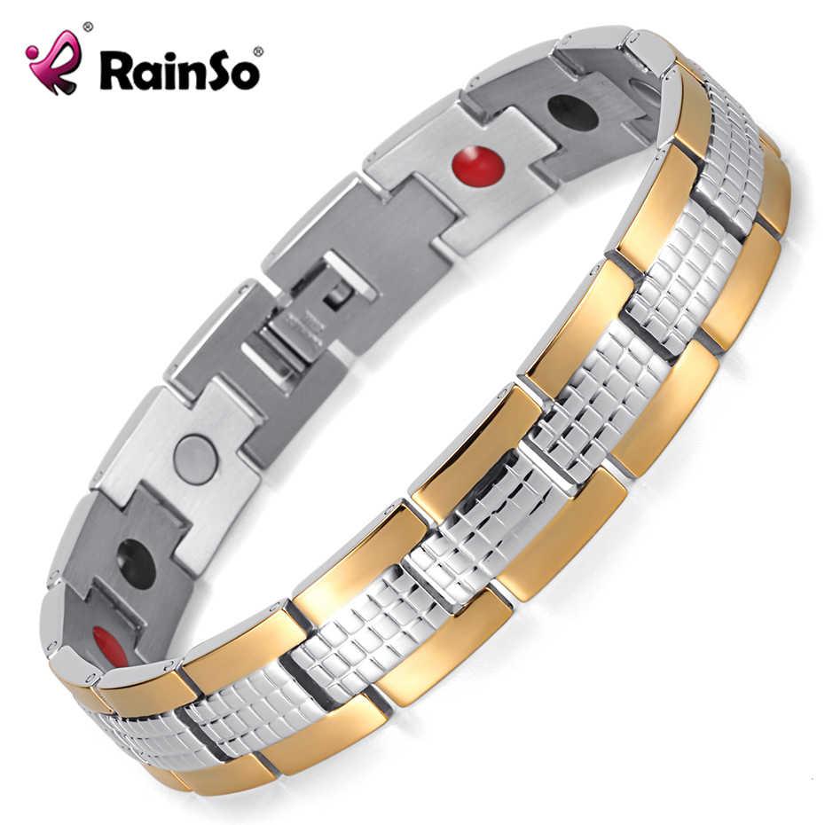 RainSo 男性の健康ブレスレット & バングル磁気ゲルマニウムバイオエネルギー H 電源ステンレス鋼チャームブレスレット用