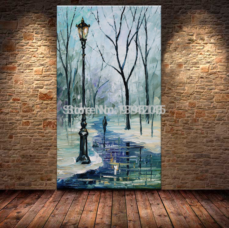 Free Shipping 100% Hand Painted Winter River Landscape Oil Palette Knife Painting Wall Art For Home Decoration