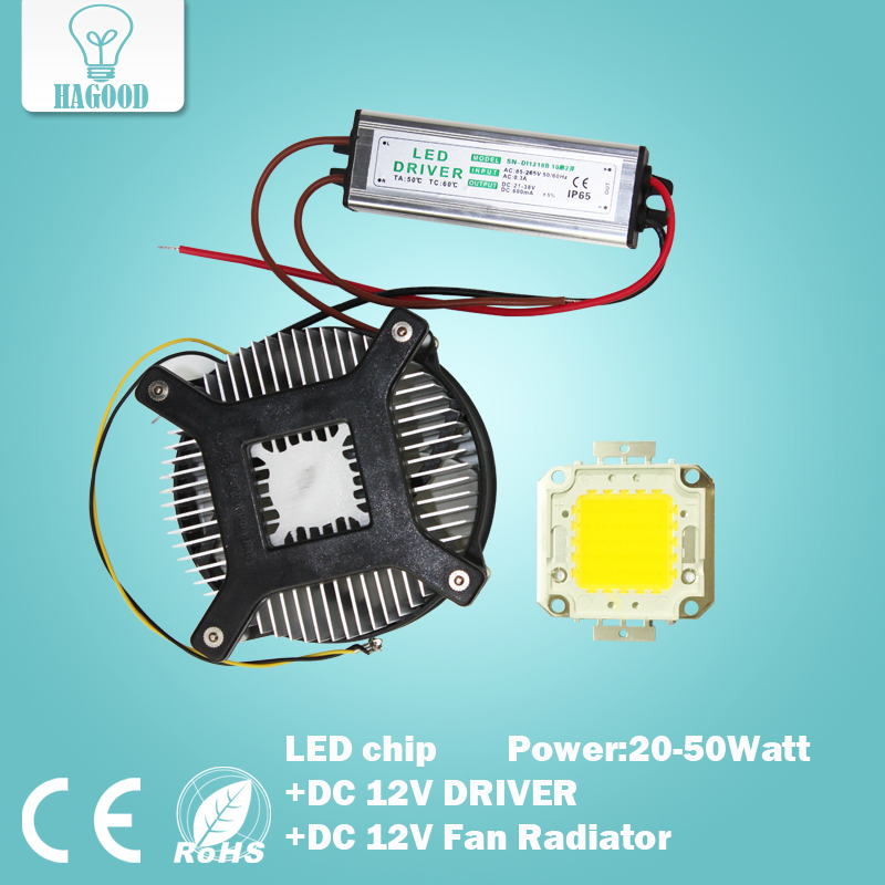 20W 30W 50W High Power LED chip LED Bulb led lamp+POWER SUPPLY DRIVER DC 12V INPUT+DC12V Cooling fan Radiator 90w led driver dc40v 2 7a high power led driver for flood light street light ip65 constant current drive power supply