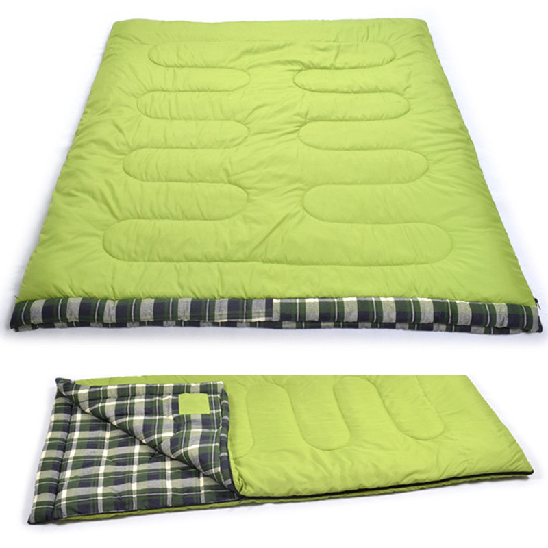 ФОТО  Winter cotton outdoor camping double adult sleeping bag  Envelope type for Camping Hiking 2 person Flannel warm