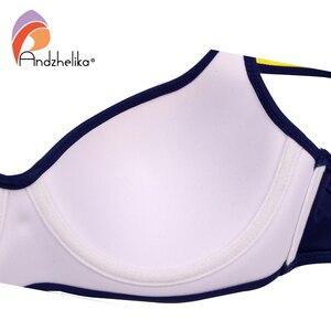 Image 5 - Andzhelika seksi çizgili bikini kadınlar mayo Patchwork büyük fincan bikini seti şınav mayo plaj artı boyutu mayo