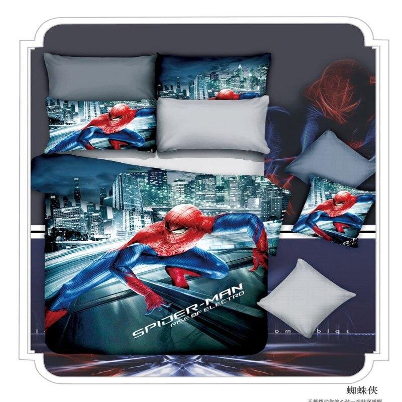 100% 면 만화 3D 슈퍼맨 스파이더 트윈 전체 퀸 킹 사이즈 4 개 침구 세트 이불 커버 침대 시트 베개