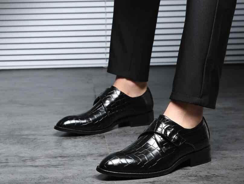 Мужская обувь из материала под крокодиловую кожу Для мужчин, итальянские свадебные туфли новый стиль Туфли под платье Для мужчин Бизнес модная модельная обувь плюс Size38 ~ 47 (Европа)