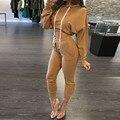 Moda Feminina Hoodies E Calças 2017 Ladies Batwing Luva Com Capuz Hoodies Casual Moletons Sólidos Calças Dois Conjuntos de Peças