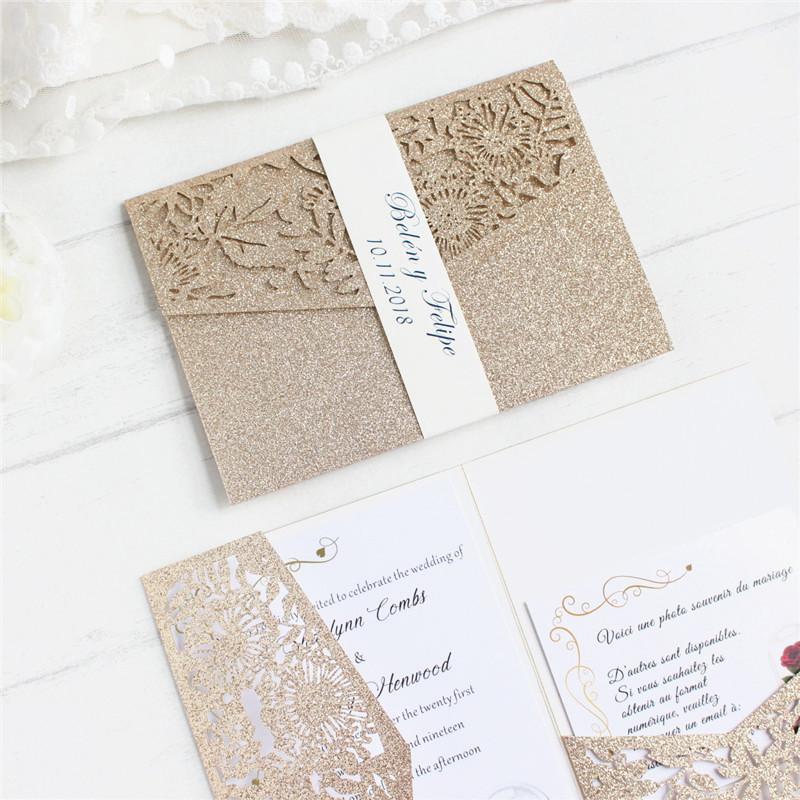 Luxury invite wedding with RSVP envelop belly band tri fold pocketfold wedding decoration customized supply free ship-in Cards & Invitations from Home & Garden    2