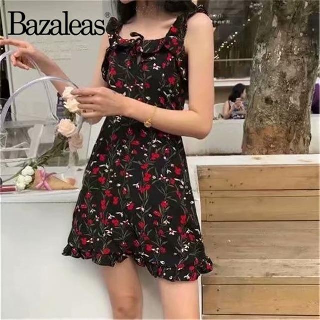 5d34a2a190e8b Bazaleas Retro Chiffon summer Black Floral Print women Dress Slim  Sleeveless Mini Dresses Vestidos Party drop shipping