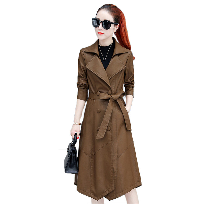 Fashion faux   leather   coat women M-3XL plus size wine red black autumn winter new korean lapel slim long faux   leather   coat LR379
