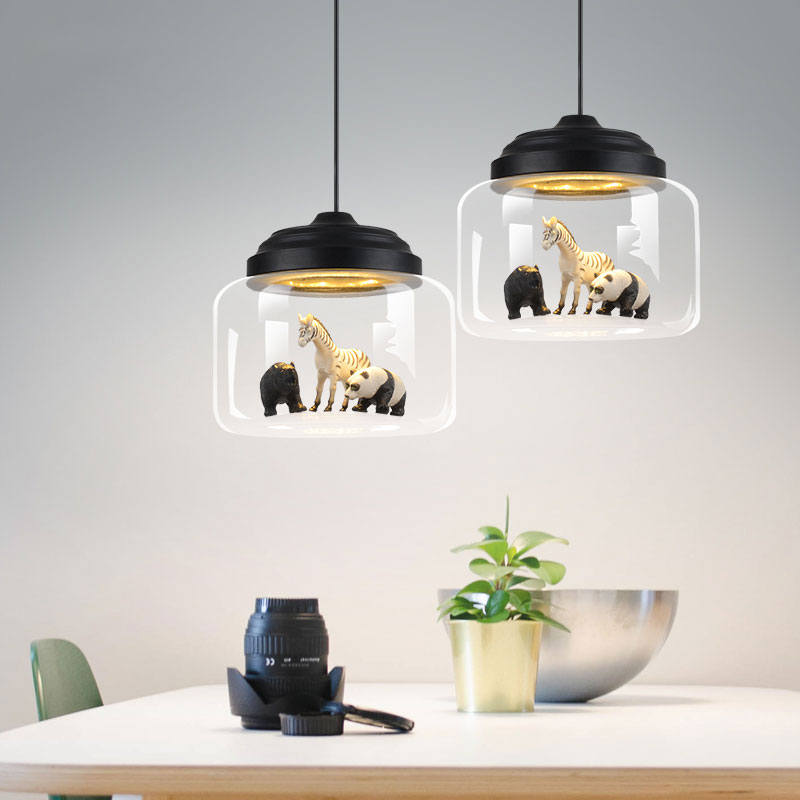 Jaxlong Animals Glass Pendant Lamp Living Room Bedroom Home Decor Pendant Lights Dining Table Novelty Hang Lamp Loft Lightings