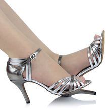 Dance Shoes Silver Adult Latin For Women Square Stage With Pumps Woman