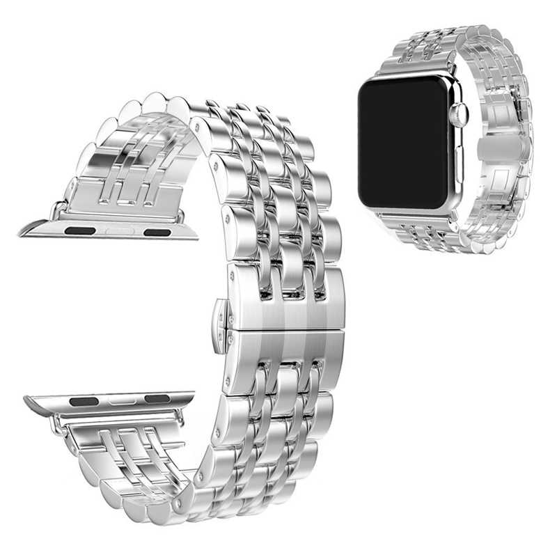 Correa de acero inoxidable de metal de lujo para Apple Watch band 4 42mm/38mm pulsera correa de muñeca para iwatch serie de correas 4/3/2/1