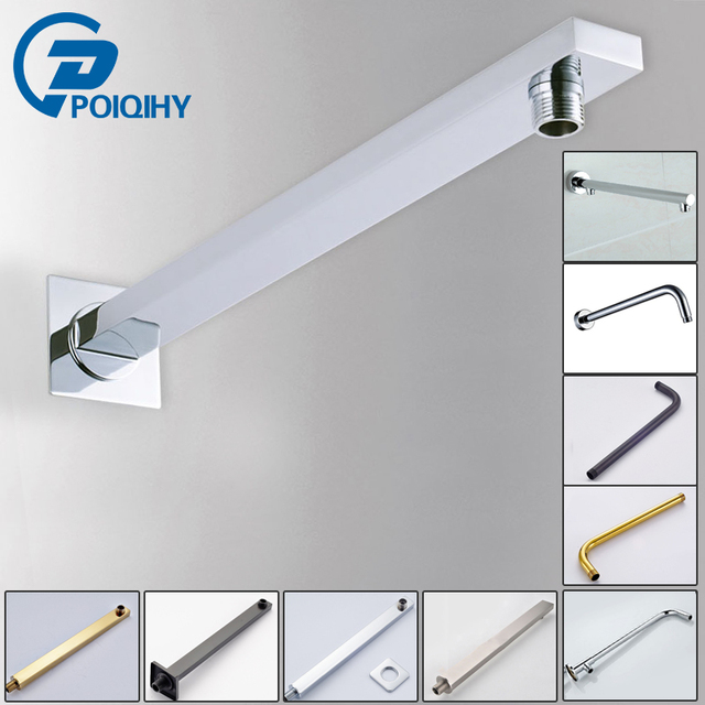POIQIHY Chrome Plated Wall Mounted Shower Arm Rain Shower Head Bathroom  Accessories Conseal Install Shower Head