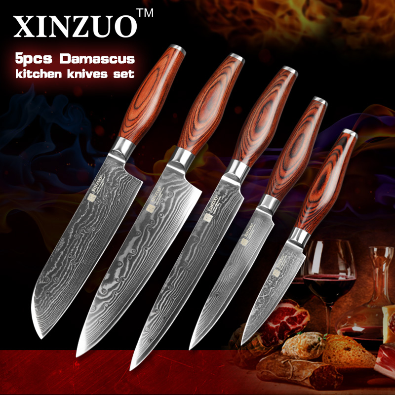 XINZUO 5 pcs Kitchen font b knife b font set Japanese Damascus kitchen font b knife