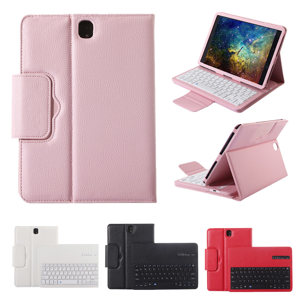 Besegad PU Case Cover Skin Shell Stand Holder with Wireless Bluetooth Keyboard for Samsung Galaxy Tab S3 SM T820 T825 9.7 Inch
