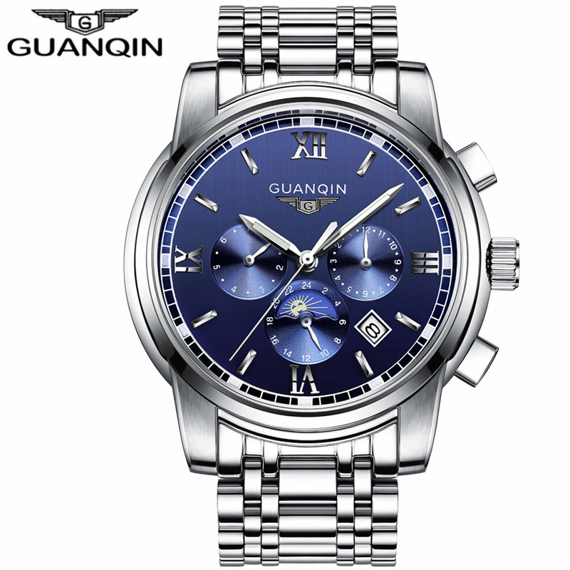2018 GUANQIN Watch Men Luxury Brand Automatic Self-Wind Business Stainless Steel Waterproof Mechanical Wristwatch Men Hour Clock seagull pvd with stainless steel self wind 3 hands exhibition back automatic men s business watch m149sk
