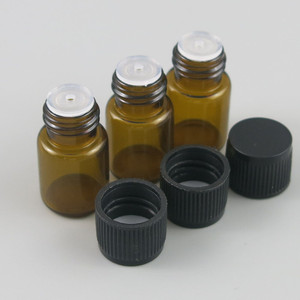 Image 3 - 100 X 2ML Mini Amber Glass Essential Oil Bottle Orifice Reducer cap Brwon Glass Vials Small Glass Bottle for E liquid