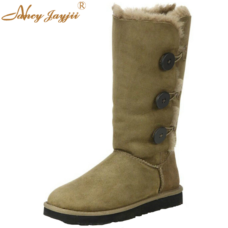 Nancyjayjii Woman Luxury Winter Boots Warm Flat Heel Snow Buttoned Shoes Round Flock Calf Fashion Antiskid Shoes Outdoor&House