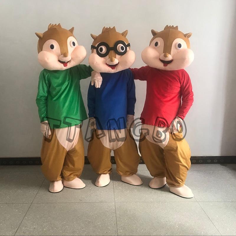 Vente Alvin et le Chipmunk personnages dessin animé mascotte Costume Anime Cosplay noël Halloween fête d'anniversaire livraison gratuite
